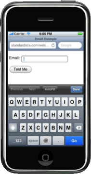 email input type on iphone